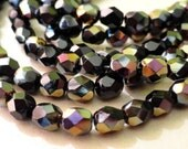 6mm Jet Black Twilight Fire Polished Beads - Black Faceted Rounds - Bead Soup Beads