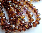 6x4mm Aubergine and Amber Rondelle - Premium Czech Glass