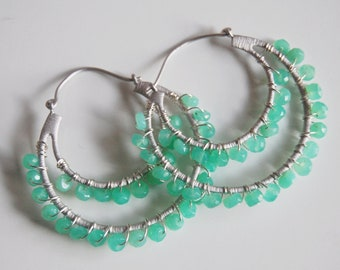 Gorgeous Chrysoprase Double Hoop  Dangle earrings