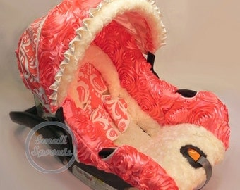 Custom 3D Rosette Coral with Coral Damask and Ivory Minky Infant Car Seat Cover 5 Piece Set