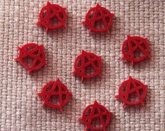 8 x Anarchy symbol  laser cut cabochons - any colour