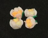 White Yellow Peach Polymer Clay Rose Flower Beads 12mm