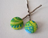 Fabric Covered Button Bobby Pins/Hair Pins, lime green and blue floral pattern, handmade by JEJEWELED