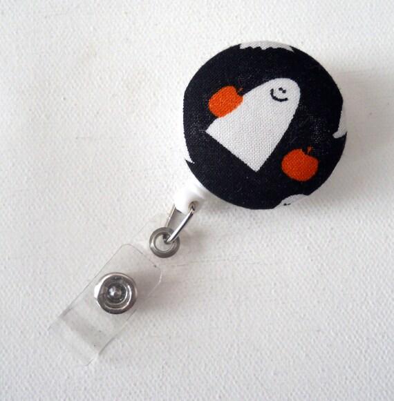 Happy Ghost - Name Badge Holder - Retractable ID Badge Reel - Fabric Button Badge - RN Badge - Pediatric Badge Reel - Badges