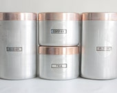 Vintage Aluminum and Copper Canister Set: Four Retro Canisters, Brushed Aluminum with Copper Lids, Kitchen Storage and Organization