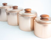 Vintage Copper Canisters, Set of Four Mirro Kitchen Canisters, Pink Copper Kitchen Storage with Wood Knobs