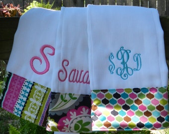Personalized monogram girl burp cloth set/girl baby shower gift/new baby girl gift