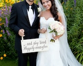 Here Comes the Bride and/or And they lived Happily ever after. 8 X 16 inches, Bridal Sign, Ring Bearer, Sign Bearer, Flower Girl.