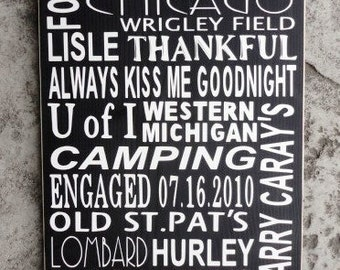 Custom Typography Word Art, Family Rules, Wood Sign with your Favorite Words, Rules, Memories, Phrases and Quotes. 12 X 24 inches.