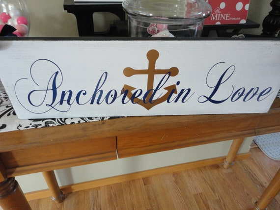 Nautical Wedding Sign, Here Comes the Bride with Anchored in Love. 8 X 24 inches, 2-Sided. Bridal Sign, I Love You Sign.