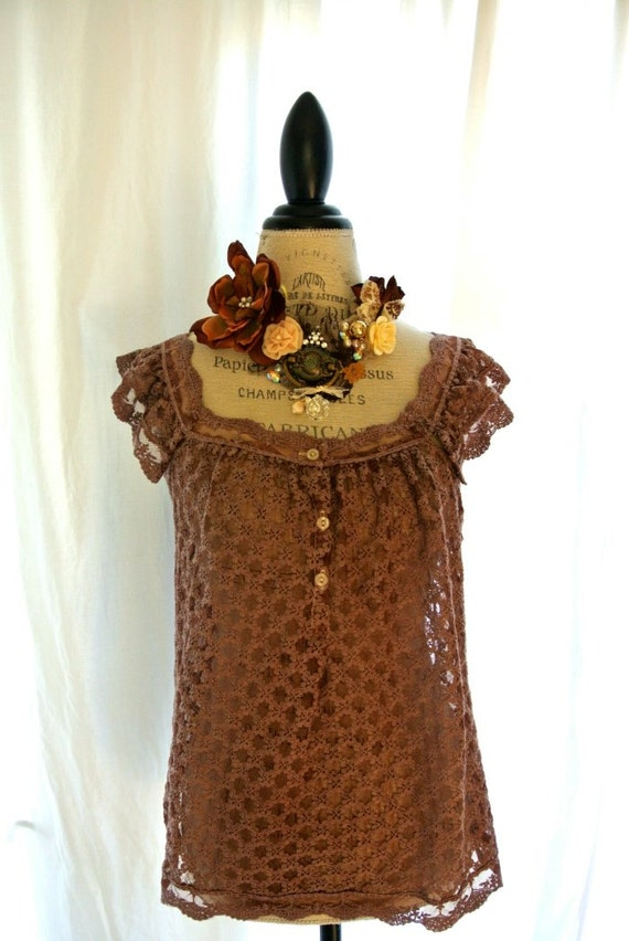 Cinnamon lace shirt, shabby womens clothing, gypsy cowgirl lace, boho chic, rustic farm girl, romantic lace