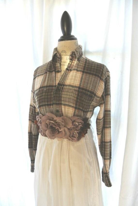 Autumn plaid dress, country chic clothing, farm girl fall plaid dress, womens clothing, rustic, gypsy cowgirl