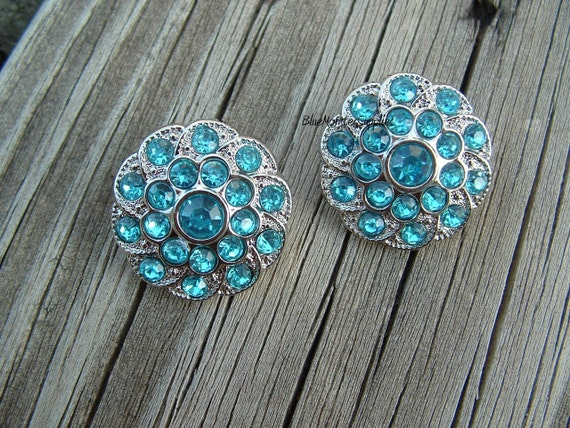 Set of 2 Turquoise Rhinestone Buttons Craft Supply Weddings Hair Bows