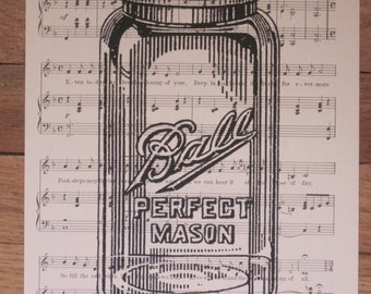 vintage mason jar sheet music