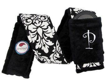 Personalized Camera Strap Cover Set in Black/White Dandy Damask and Black Minky with Dual Lens Cap Sleeve