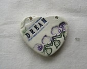 DREAM ceramic textured heart pendant