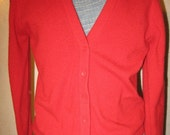 Vtg 60s Mod Red Cashmere Cardigan Sweater