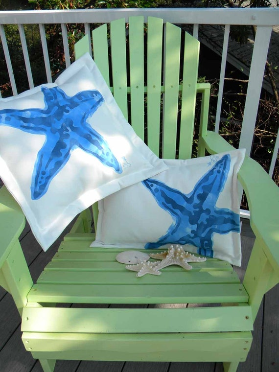 "Outdoor pillow KNOBBY SEA STAR starfish blue  20"" square coastal ocean saltwater seashore beach echinoderm Crabby Chris Original"