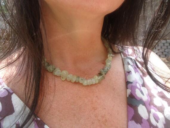 """Green Prehnite Necklace - Copper Toggle - 17"""" long"""