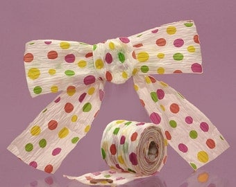 """1 1/2"""" or 1.5"""" Paper Ribbon PolkaDots Colorful Bright Colors on White"""