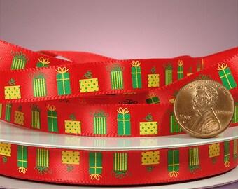 "3/8"" Red Christmas Gift Ribbon"