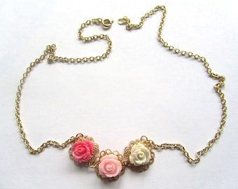 Tiny Rose Collection, Pinks and Creams Rose Statement Necklace,Bridesmaids Gifts,Flower Girls,Fall Fashion