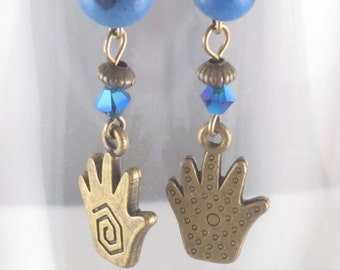 Blue Healer - Healing Hand Dangle Earrings