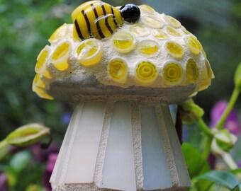 Tiny Lemon Yellow Cap Mosaic Toadstool with a Bumblebee Garden Art MOO5060