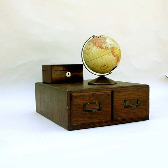 Library File Card Cabinet 2 Drawers