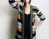 Vintage Striped Navy and Tan Open Cardigan Medium