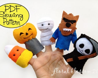 Digital Pattern: Halloween Friends 01 Felt Finger Puppets