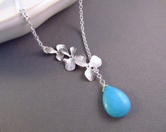 Orchid Necklace, Silver Flowers and Turquoise Lariat, Modern, Turquoise Jewelry, Flower Necklace, Lariat Necklace, Silver Turquoise Necklace