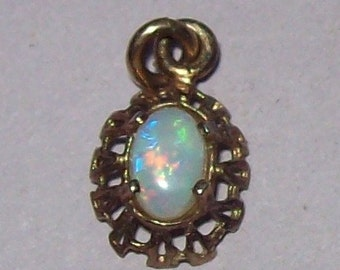 Opal Vermeil Charm Gilt Sterling Silver