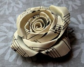 Vintage Sheet Music Paper Rose Pendant