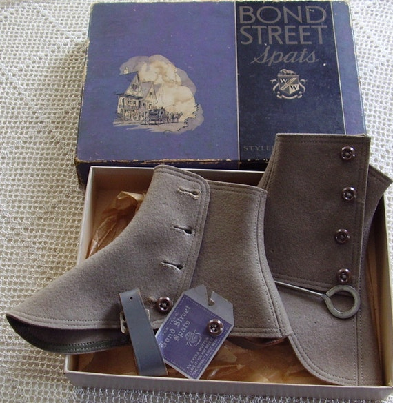 Vintage Spats Bond Street Gray Wool Button Hook