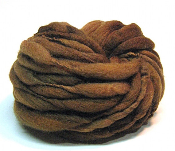 Handspun yarn in hand dyed thick and thin merino wool - 37 yards, 3.2 ounces/ 92 grams