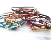 UPSCALE friendship bracelet, You Choose Leather Wrap Bracelet, Wire Wrap, Gold Silver Toggle, 10.00 each