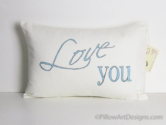 Love You Pillow Cover Winter White Hand Painted