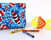Fish Deluxe Crayon Wallet, Ready to ship, Crayon organizer, Art wallet, Crayon keeper, Creative play, Art kit, Handmade toy, Art toy, Kids