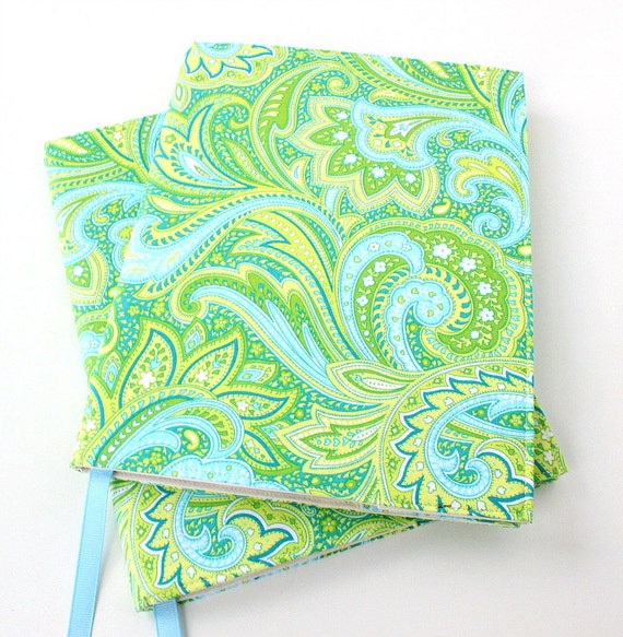 Notebook cover - fabric journal cover for composition notebooks - Paisley (LAST ONE)