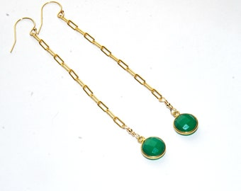 Green Earrings - Long Gold Shoulder Duster- Natural stone - 14K Gold filled