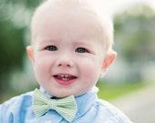 Baby Boy's Bow Tie - Green Seersucker Stripe