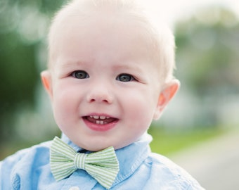 Baby Boy's Bow Tie - Green Seersucker Stripe