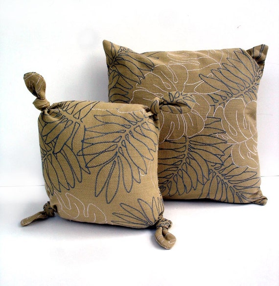Autumn pillow set embroidered leaves light brown gray white modern fall cushions