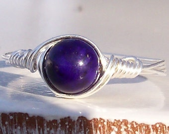 Plum Fossil Stone Argentium Sterling Silver Wire Wrapped Ring