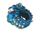 Chunky Cocktail Ring, Deep Marine Blue Glass Beads, Crystal  Hand Knit fiber art Jewelry, OOAK  Artisan style by Sereba Designs on Etsy
