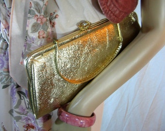 """70's Formal GOLD CLUTCH HANDBAG 11"""" W x 5 1/2 L"""" handle and flower clasp"""