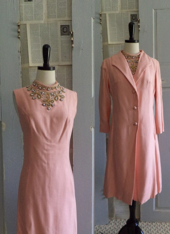 1960s Pink Cocktail Dress with Jacket Beaded Party Dress Womens Size Medium