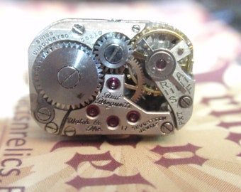 Steampunk Paul Breguette movement Ring Clockwork Mechanism Silver floral Adjustable SIZE 6.5 - 10  Up Cycled repurposed ring CR4