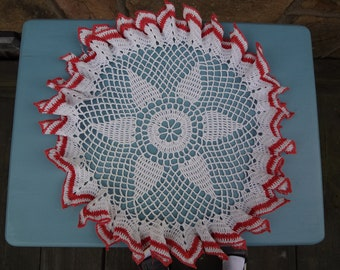 Hand Crochet Vintage Doily with Red Trim